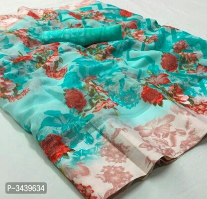 Floral Printed Exotic Linen Blend Sarees With Blouse Piece