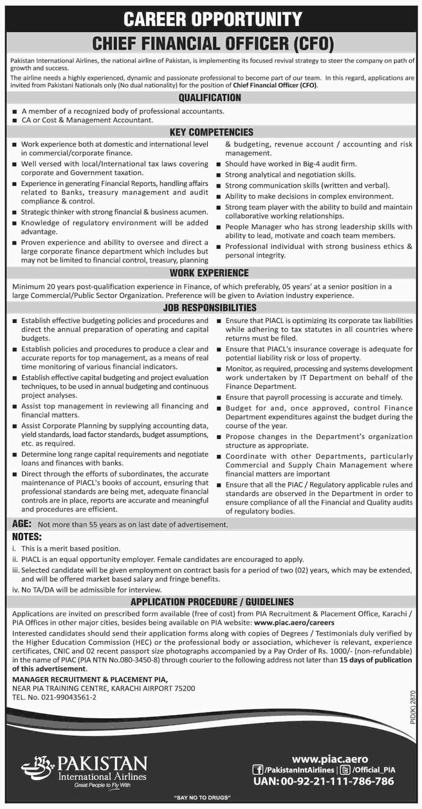 Jobs Vacancies In Pakistan International Airlines PIA 27 January 2019