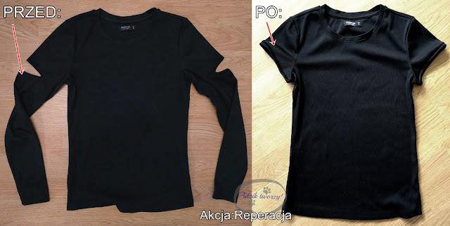 Akcja:Reperacja u Adzika - przeróbka bluzki DIY na t-shirt