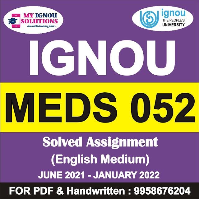 MEDS 052 Solved Assignment 2021-22