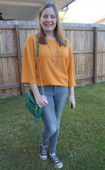 kmart textured dolman top in marigold orange with grey skinny jeans converse rebecca minkoff crossbody | away from blue