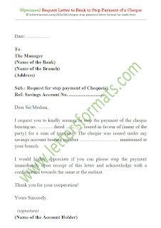 cheque stop payment request letter format