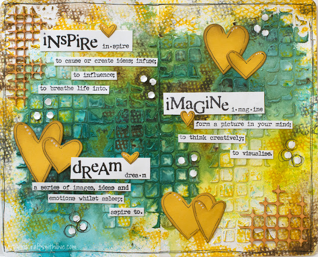 Art Journal Page with Texture and Colors and Visible Image Stamps
