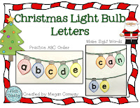 Christmas Lightbulb Letters, ABC Order, build sight words, www.JustTeachy.com