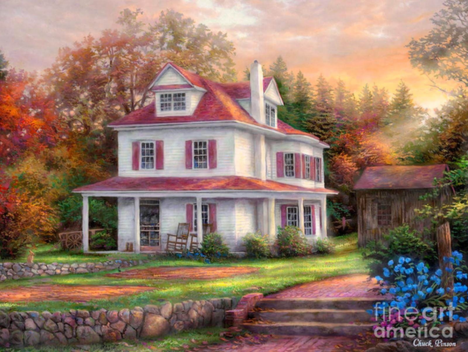 Cuadros modernos pinturas y dibujos hermosos paisajes al - Paisajes de casas ...
