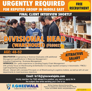 Divisional Head Required for Middle East