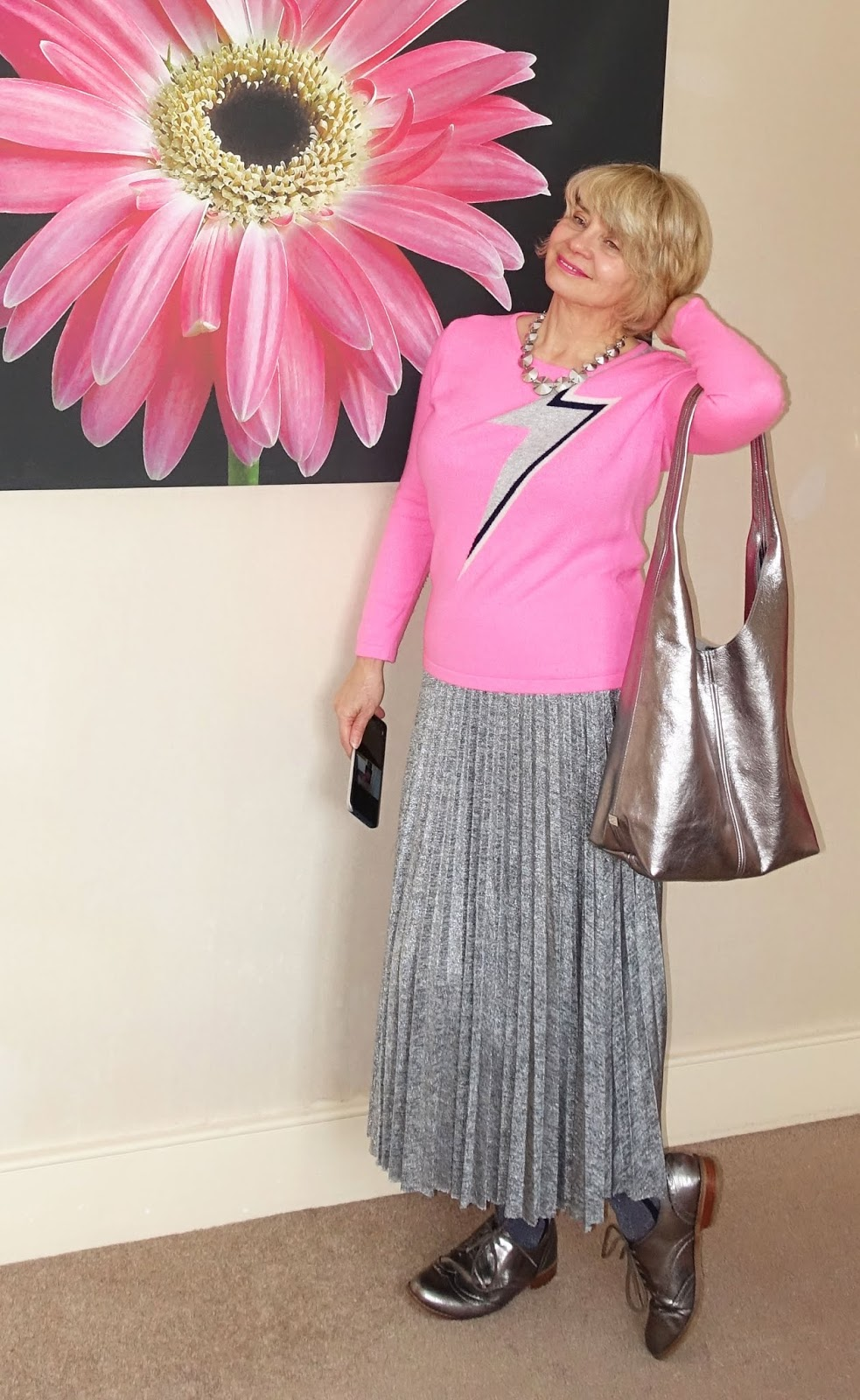 Lurex ankle socks from Tito worn with a silver midi pleated skirt, metallic brogues and a pink Bowie flash jumper