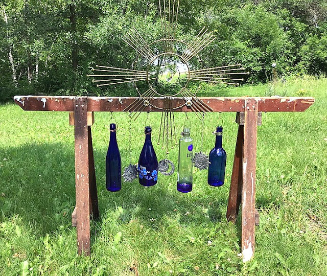 Rustic Repurposed Sawhorse/Bottle Wind Chimes