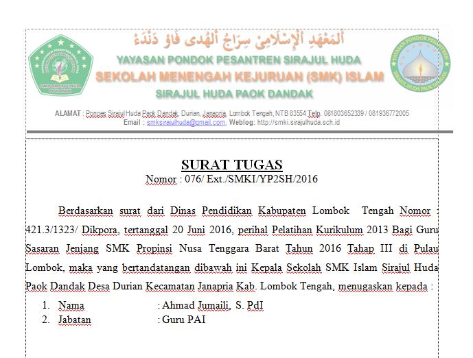 Contoh Surat Tugas Smk Smk Islam Sirajul Huda Paok Dandak