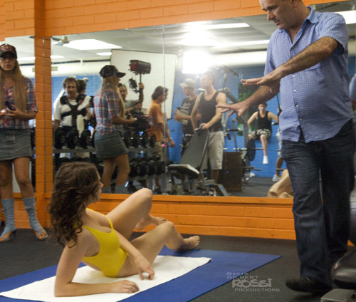 dealing with destiny film director colm o'murchu directs australian actor gillian cooper in the film's famous gym scene, photographer gilbert rossi captures dealing with destiny film director colm o'murchu with sexy actor gillian cooper, gilbert rossi shoots gillian cooper on set during sexy gym scene