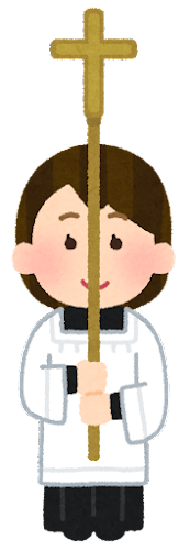 ミサで十字架を持つ子供のイラスト(女の子)