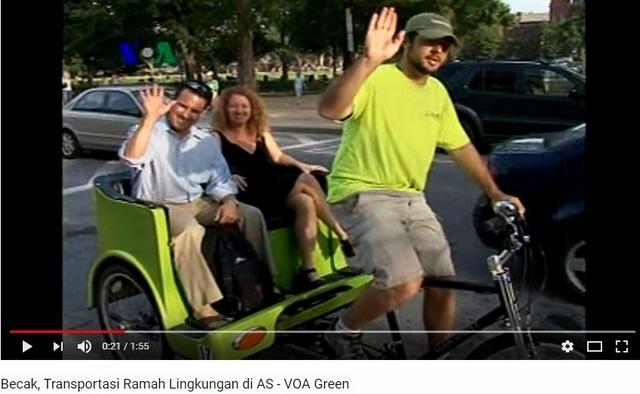 Di Jakarta Becak Dihina, Di Amerika Becak Malah Jadi Transportasi Alternatif Ramah Lingkungan
