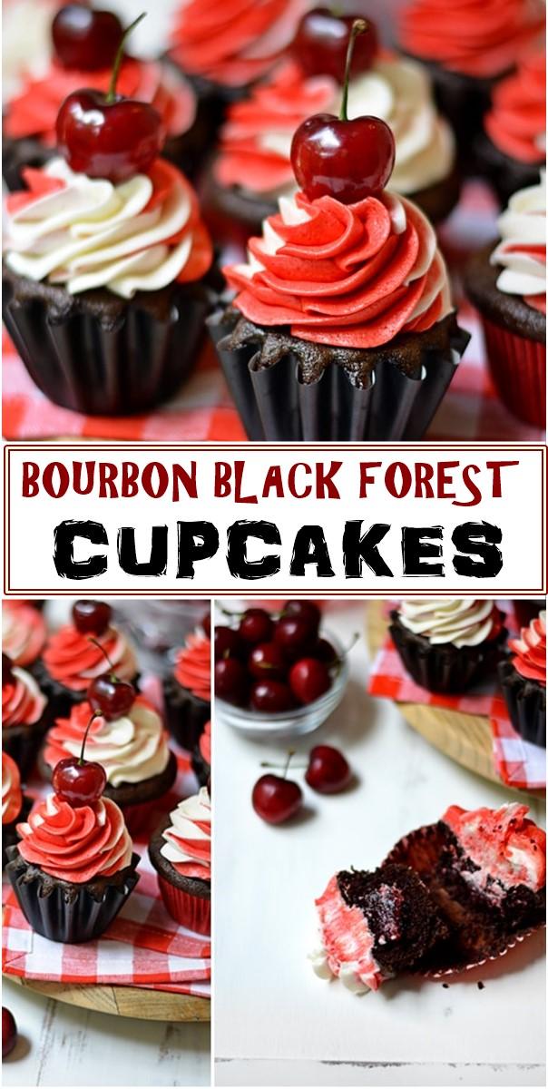 BOURBON BLACK FOREST CUPCAKES RECIPE #cupcakerecipes