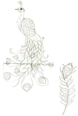 peacock sketch - How Soul Flower's Designs Come to Be