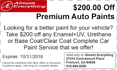 Discount Coupon $200 Off Premium Auto Paint Sale October 2018