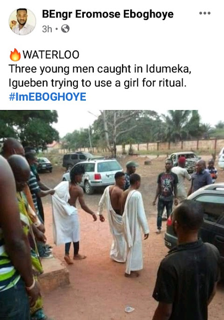 Three men arrested after attempting to use a Girl for money ritual