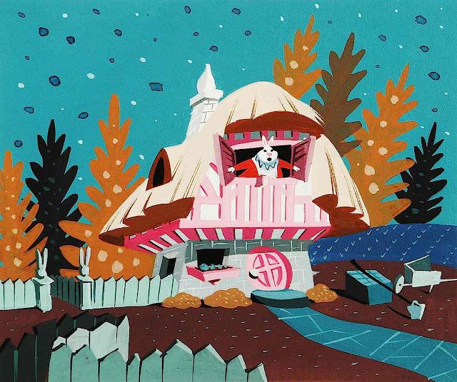 a Mary Blair 1951 color design of a rabbit's house