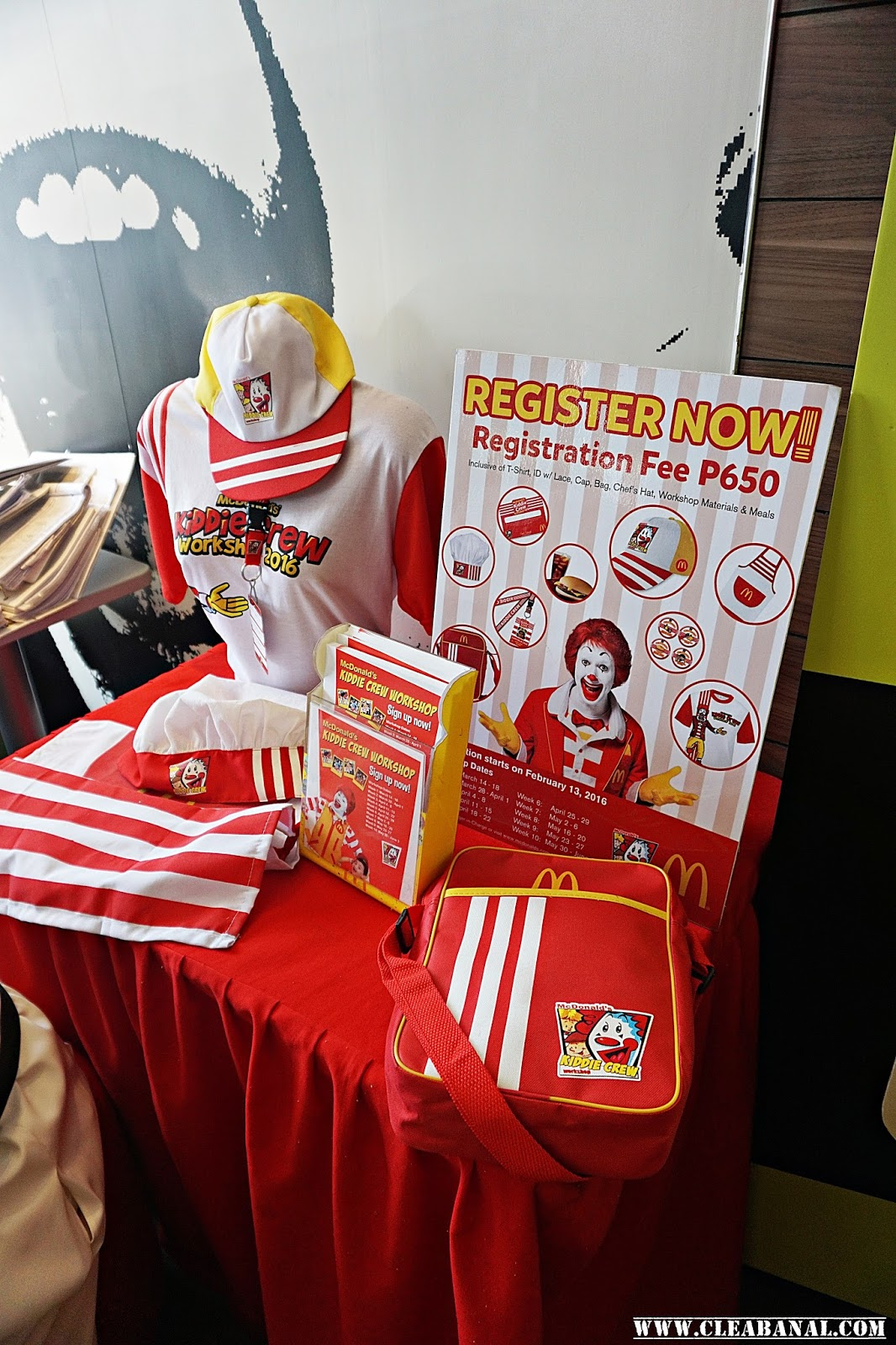 mcdonald s kiddie crew workshop 2016 clea banal for a fee of php650 kids 6 12 years of age get a workshop shirt cap bag i d workshop materials pin badge for every activity apron chef s hat