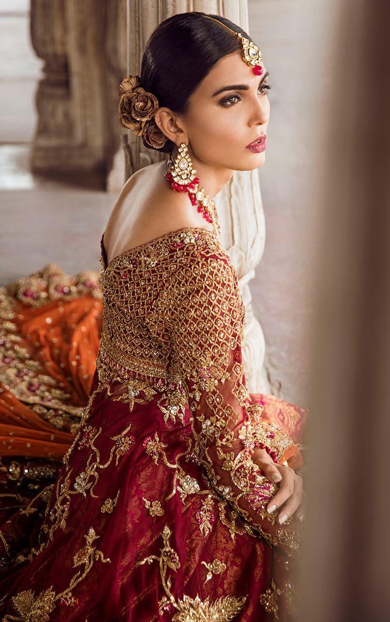 Deep red Pakistani bridal gown MAALA by Tena Durrani
