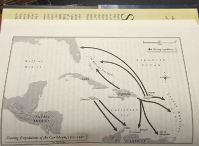 Map of slaving expeditions in the Caribbean 1510-1540