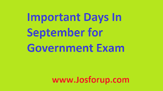Important Days In September for Government Exam | Josforup