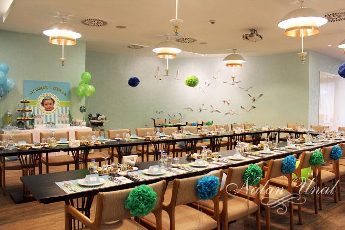 turkuaz yeşil temalı doğumgünü partisi