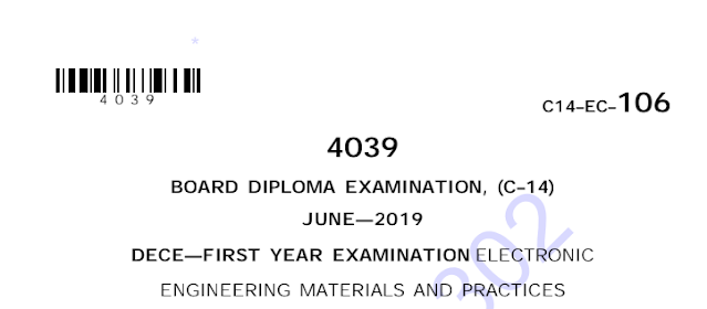 Diploma solved question papers electronic engineering materials and practices model question papers june 2019