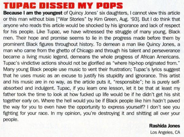 Rashida jones letter to tupac 2pac shakur