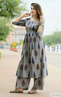 Simple Cotton Printed Kurti Palazzo Sets
