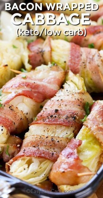Tender cabbage wrapped in bacon and baked in the oven, this makes the perfect side dish!