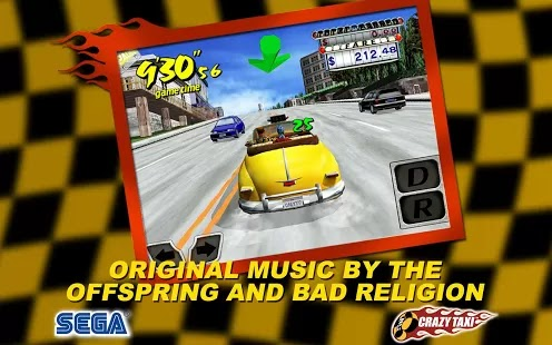 Zip you Taxi through the traffic packed streets with you passengers with Crazy Taxi game for Android devices