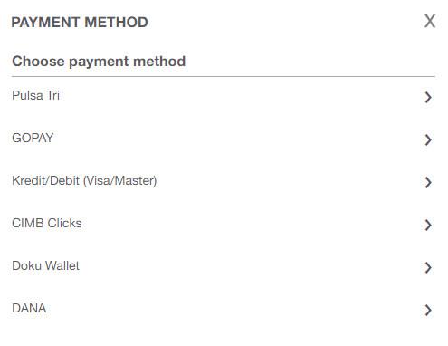 Pilihan Metode Pembayaran Pembelian Kuota Tri