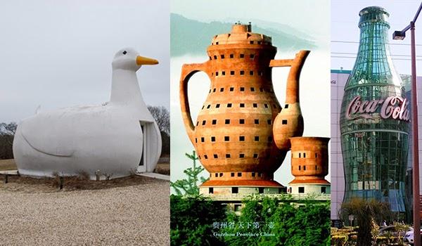Edificio Pato en Long Island (EEUU), Museo del té en Meitan (China) y Museo Coca-cola en Atlanta (EEUU)