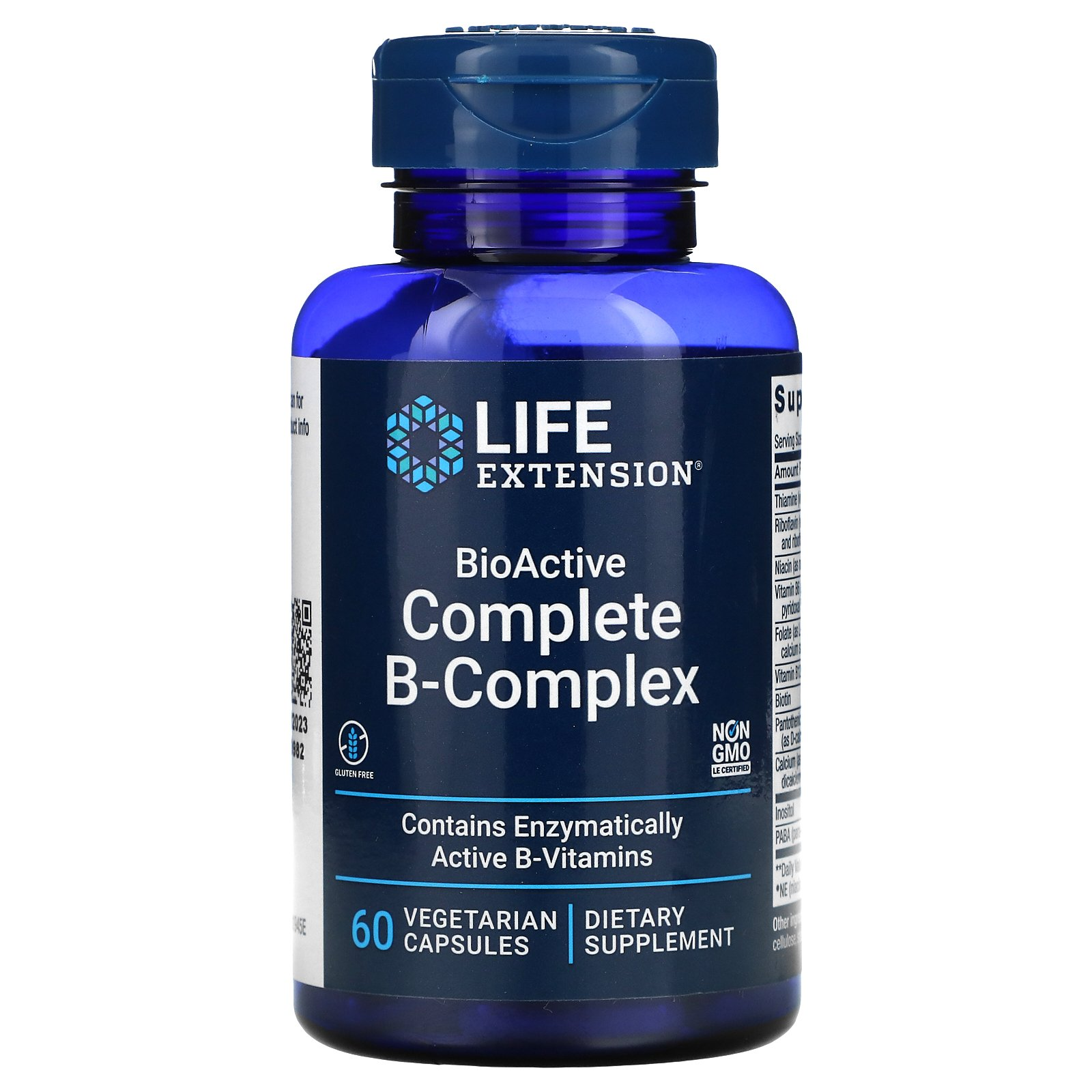 Life Extension, полный биоактивный комплекс витаминов группы B, 60 вегетарианских капсул