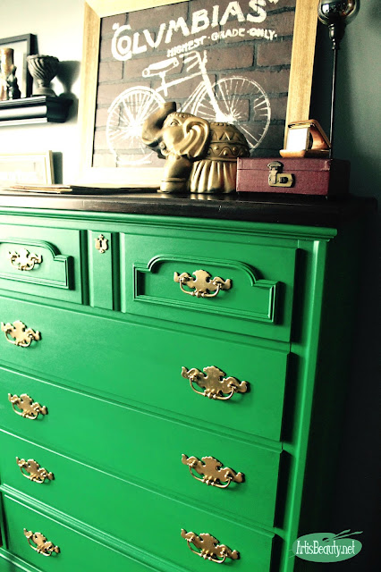 emerald green eclectic bohemian chic roadside rescue painted dresser makeover before and after