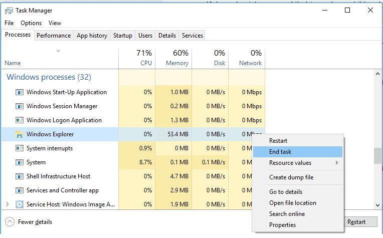 Reset Windows Explorer