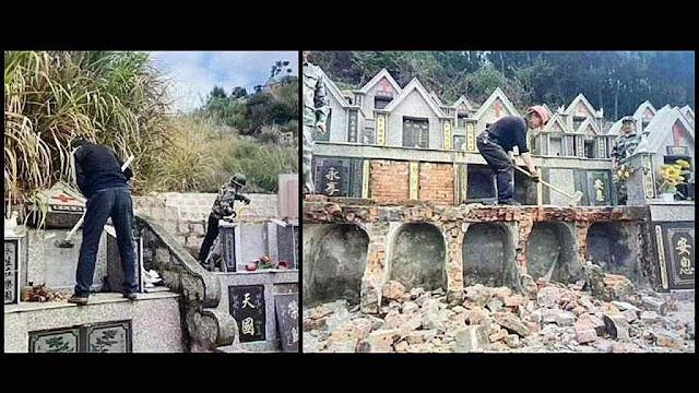 Lápides cristãs sendo demolidas