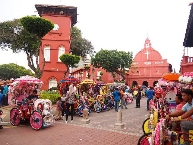 Trishaws in Dutch Square, Melaka, Malaysia