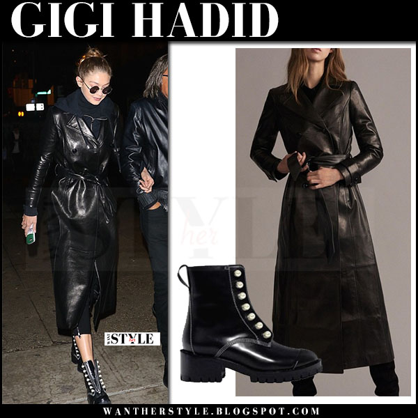 Gigi Hadid in black leather frame coat and black ankle boots phillip lim hayett what she wore may 5 2017