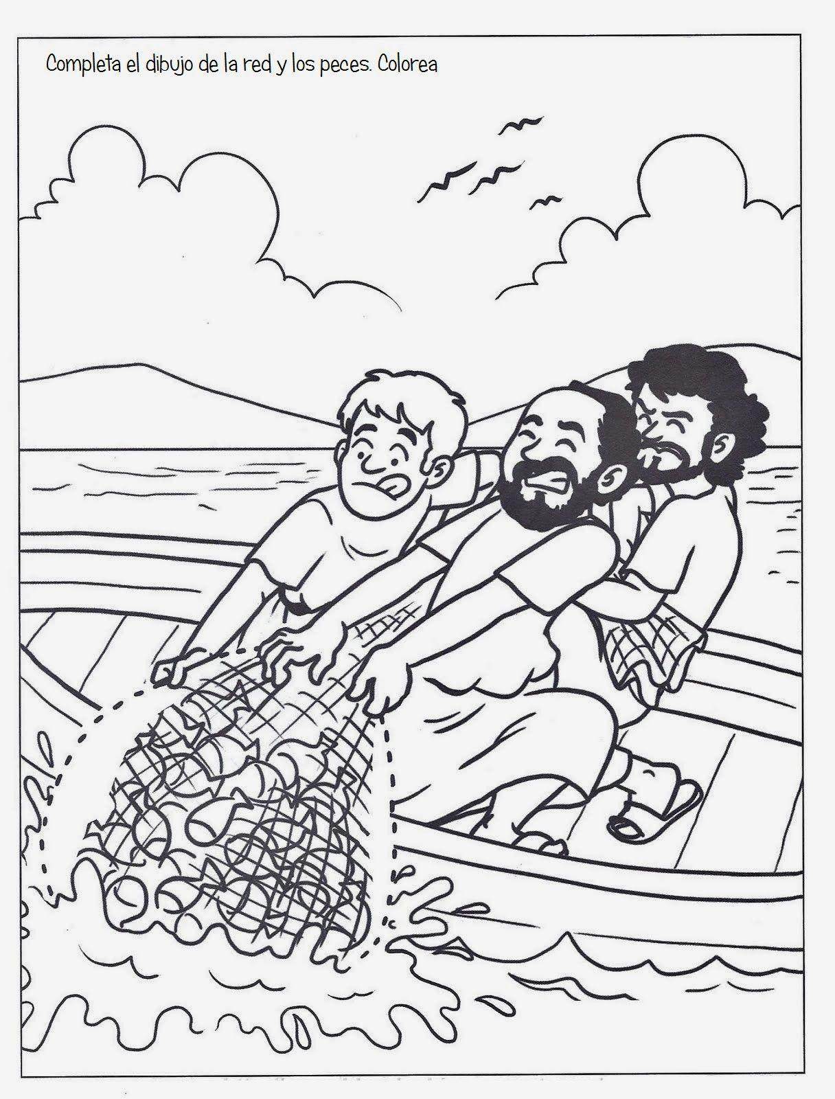 Dibujo Cristiano Para Colorear De Pedro Y La Pesca Milagrosa