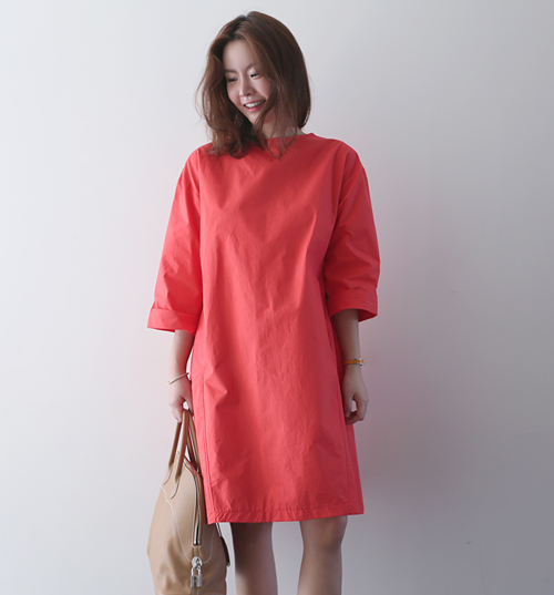 Solid Color Knee Length Bracelet Sleeve Dress