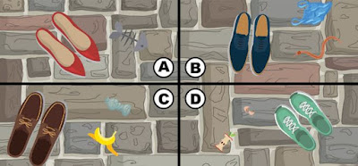 Alt-1 Q 15. the streets are crowded and kiki is having a hard time moving around. she hears a coin fall to the ground and begins looking for it. which part of the image has the coin?