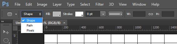 Option bar untuk rounded rectangle tool.