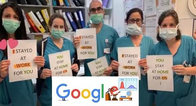 Google Doodle: it says Thank you to Coronavirus helpers