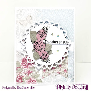 Stamp/Die Duos: My World Custom Dies: Delicate Doily, Circles, Pierced Rectangles, Long & Lean Letters, Sentiment Strips, A2 Portrait Card with Layer, Matting Rectangle, Pretty Posies (leaves), Ovals Paper Collection: Shabby Rose, Shabby Pastels Other: Crystal Rhinestones