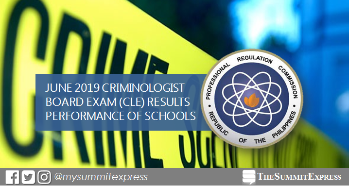 PERFORMANCE OF SCHOOLS: June 2019 Criminologist board exam CLE result