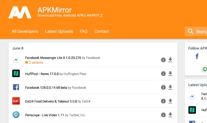 Website Teraman tuk Download APK Android - APKMirror
