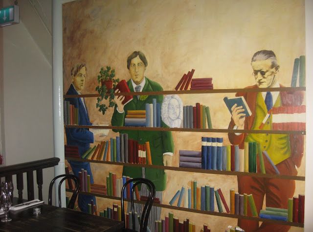 James Joyce Center wall mural of Joyce and Yeats