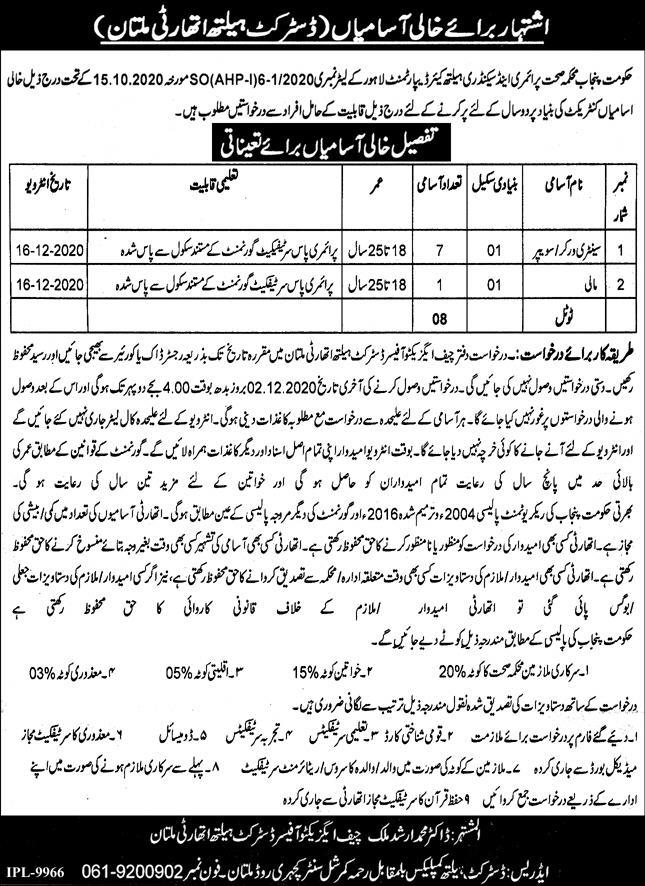 Primary & Secondary Healthcare Department Jobs in Pakistan For Helping Staff Jobs 2021