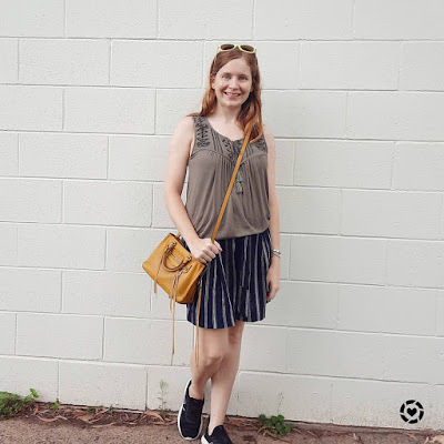 awayfromblue Instagram | olive embroidered tank with navy stripe print culotte shorts mustard micro regan bag